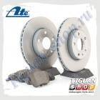 Комплект передних тормозных дисков с колодками ATE